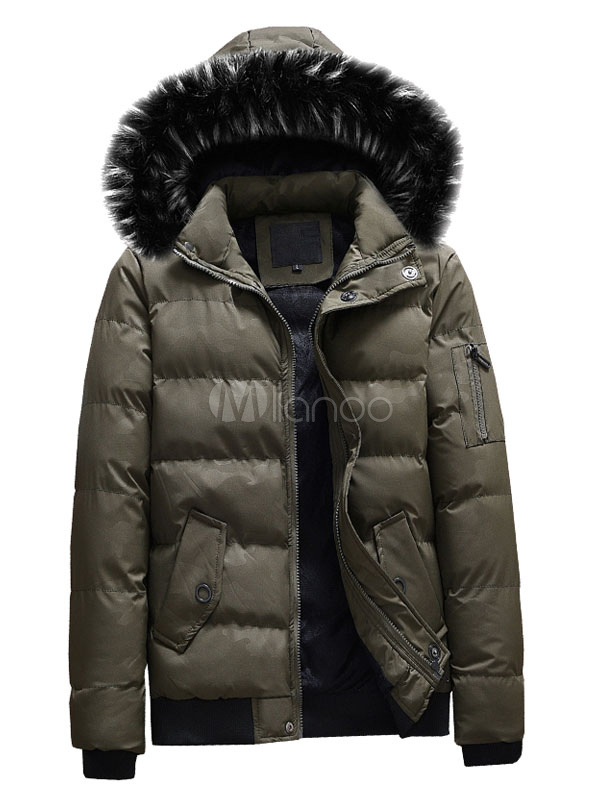a320b770c1e3d ... Men Down Coat Furry Hood Camo Pattern Casual Winter Overcoat Cotton  Fill Zipper Button Black Puffer ...