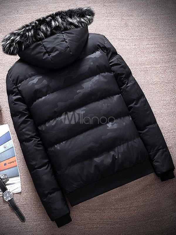 3d6aaf1c0c0b1 ... Men Down Coat Furry Hood Camo Pattern Casual Winter Overcoat Cotton  Fill Zipper Button Black Puffer