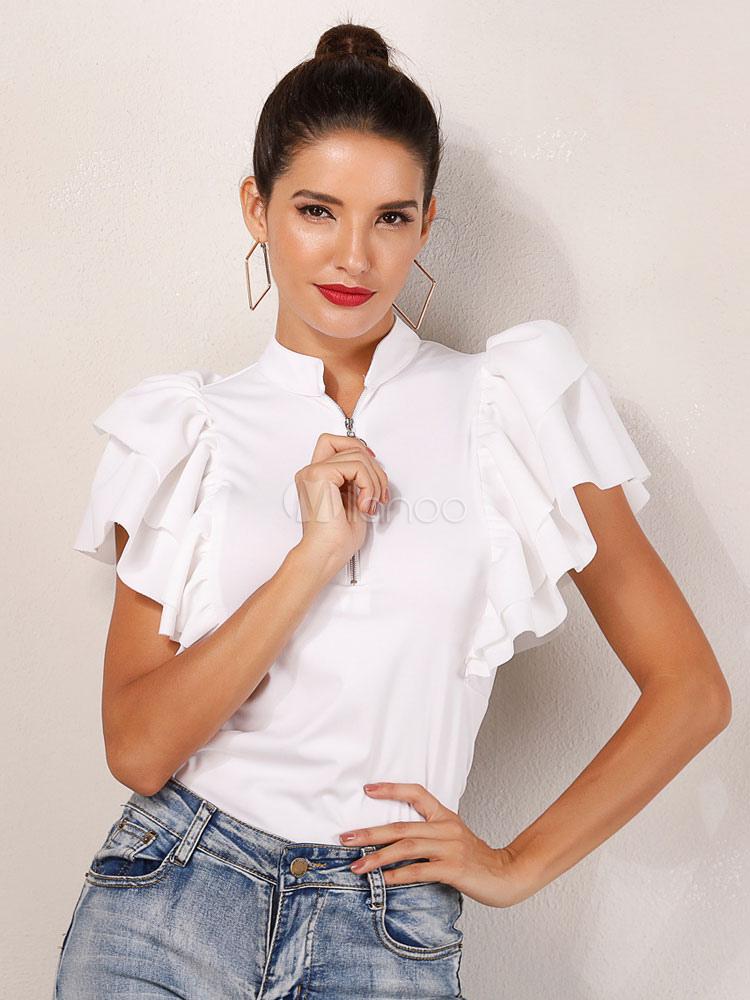 347de366bc0dc Women Casual Blouses Ruffles Short Sleeve Stand Collar Zip Shaping Summer  Top-No.1 ...