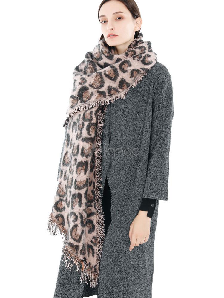 754a94c4cae17 Leopard Blanket Scarf Self Fringe Knit Oblong Scarf Wrap - Milanoo.com