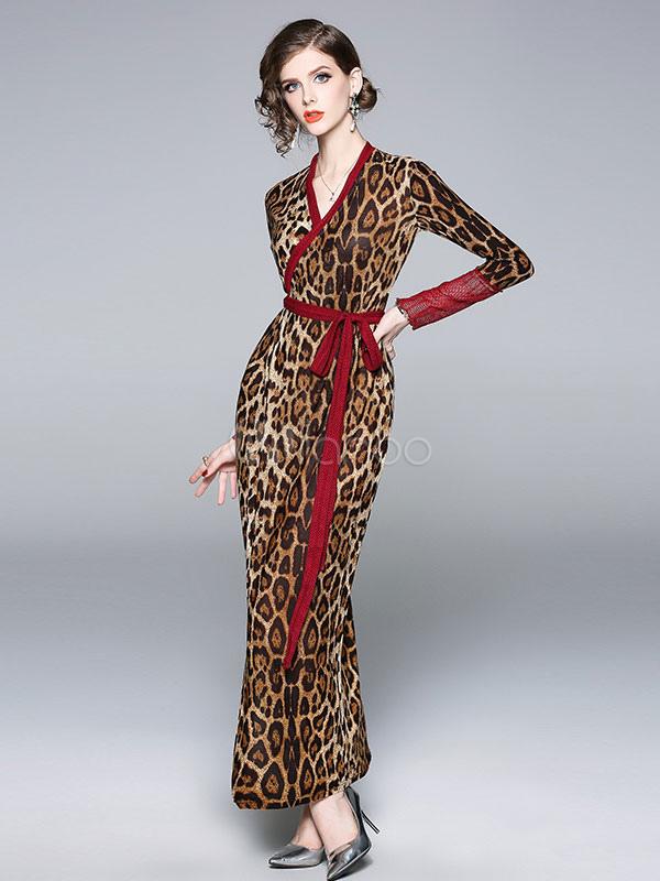 29b06cd7da Long Sleeve Maxi Dress Leopard Print Wrap Dress V Neck Lace Split Shaping  Fall Dress- ...