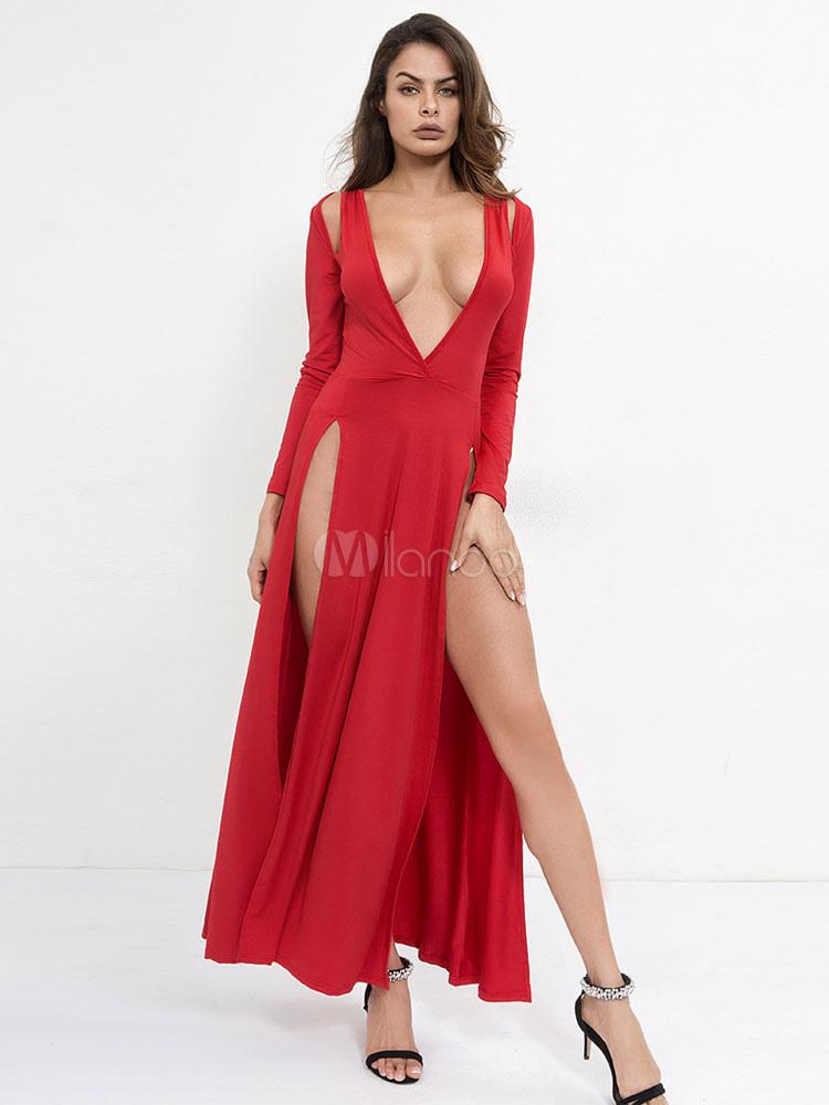 Partykleid Tiefer Club Rot Langarm Sexy Kleid Maxikleid L4A3R5j