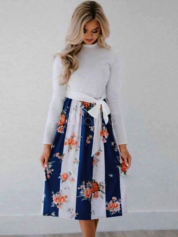 brand new 5f03d 2c5a0 Floral Midikleid Langarm Taschen verknotet Skater Dress