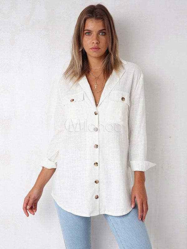 5903f352b109 Camisa blanca para mujer Cuello doblado Botones de manga larga Bolsillos  Chifón Top