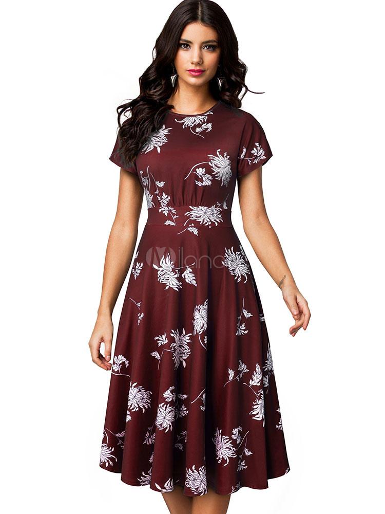 c92a971da Vestido vintage floral Vestido de manga corta Vestido a media pierna Vestido  de vuelo con cuello ...