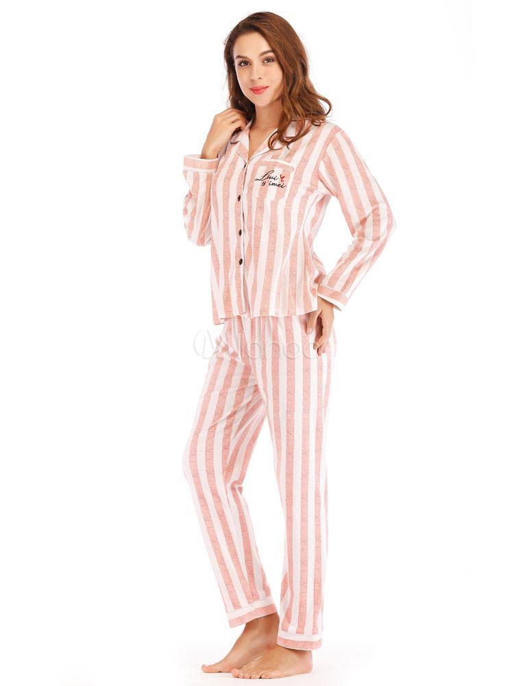 e65506923704 Women Pajamas Loungewear Striped Pink Lingerie Sleepwear - Milanoo.com