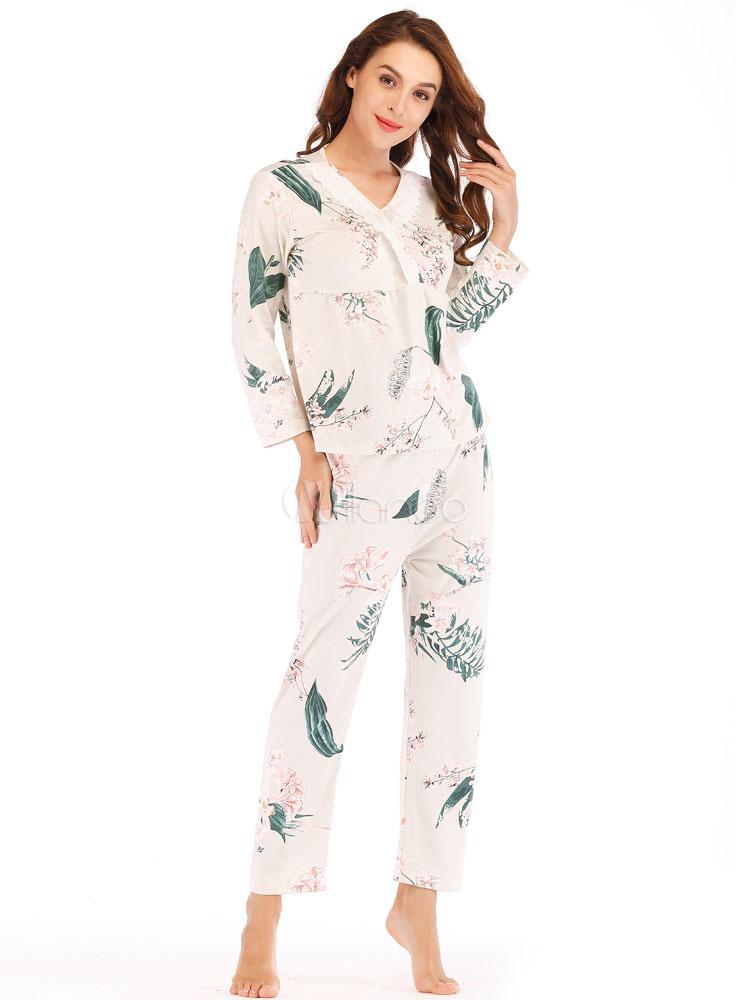 ac0a557172ac ... Women Pajamas Loungewear White Leaf Print Lace Trim Lingerie Sleepwear-No.4  ...