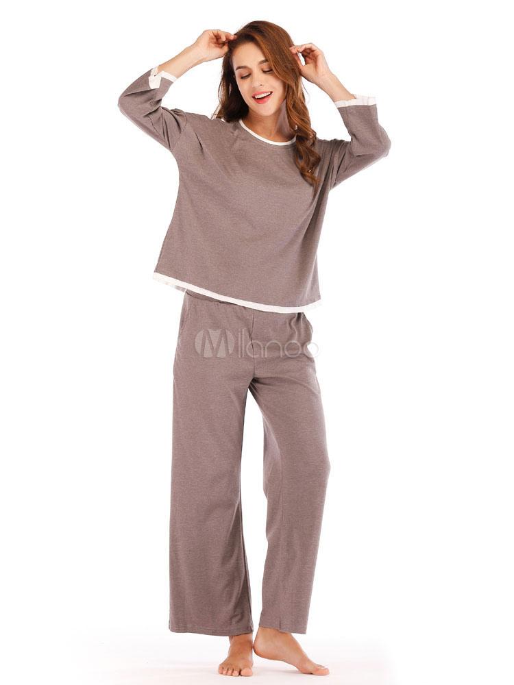 02ae536f62c5d Women Pajamas Loungewear Piping Round Neck Lingerie Sleepwear-No.1 ...