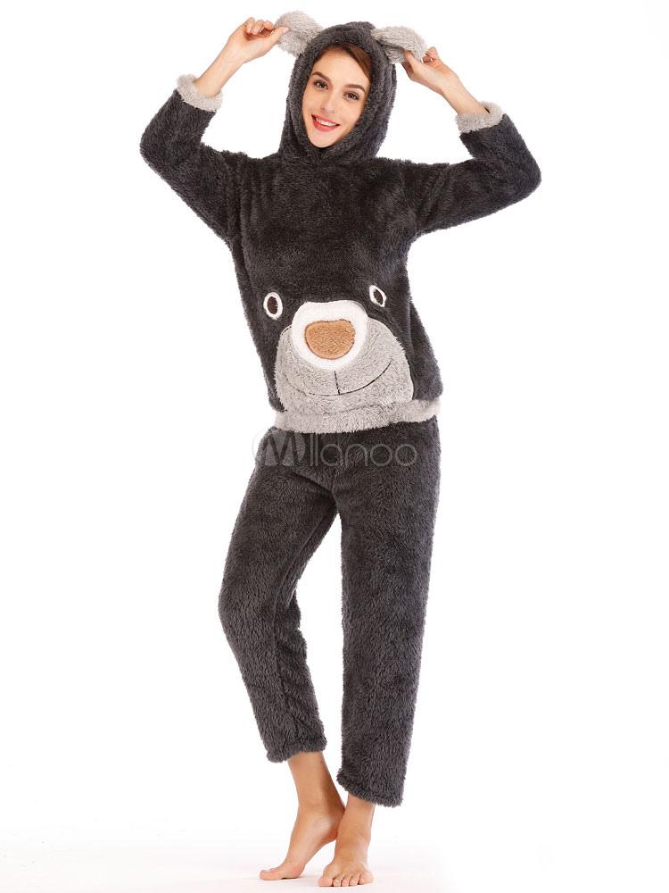 design senza tempo 2cb86 f4cfc Pigiama di flanella da donna Pigiama da orso Orecchie da notte