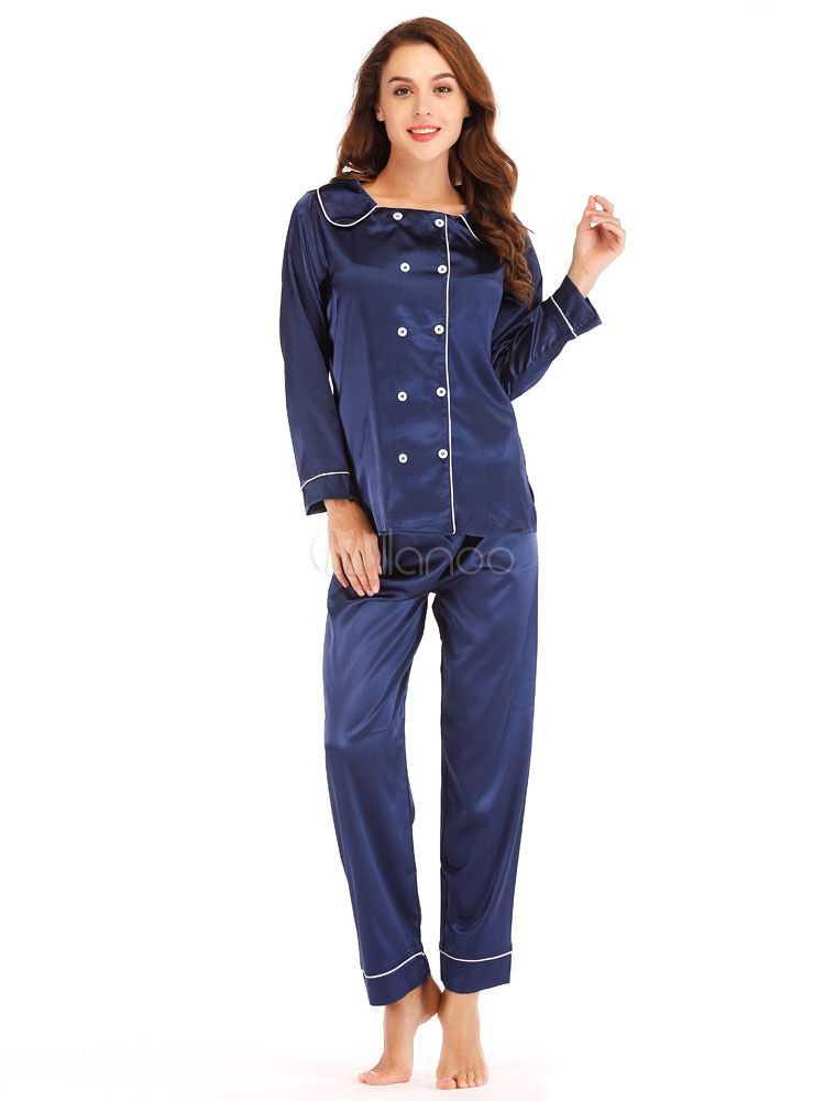 0ce4d839804a Women Silk Pajamas Loungewear Double Breasted Buttons Piping Lingerie  Sleepwear-No.1 ...