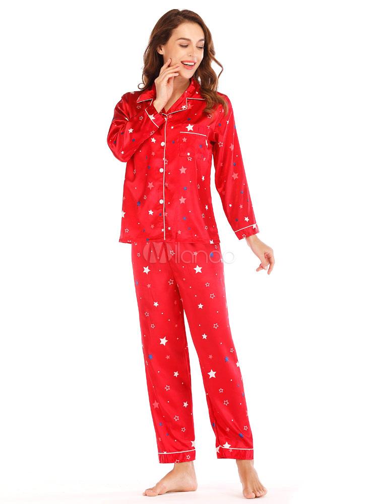 f687daeeef49f ... Женщины Новогодняя пижама Шелк, как красный Loungewear Star Версия для  печати Нижнее белье-No ...