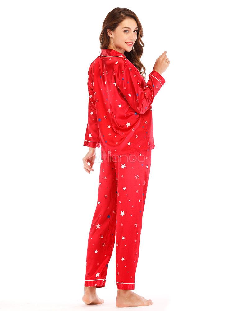 Frauen Weihnachten Pyjamas Seide wie rote Loungewear Star Print ...