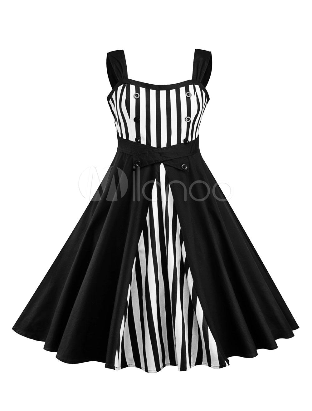 3481749bb7b7 ... Abito vintage donna anni  50 Rockabilly Stripe Two Tone Buttons Abito  Swing senza maniche-. 12. -40%. colore Nero