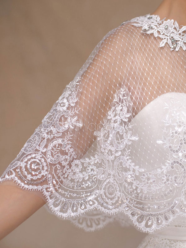 37ac9c7a09 ... Wedding Poncho Cape Lace Ivory Shrug Shawl Bridal Cover Ups-No.5