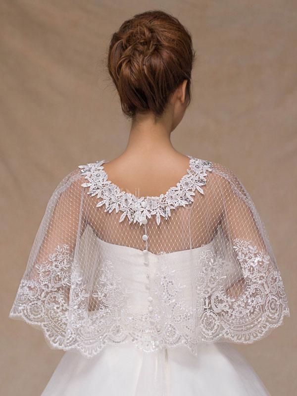 8f08ffc58a ... Wedding Poncho Cape Lace Ivory Shrug Shawl Bridal Cover Ups-No.4 ...