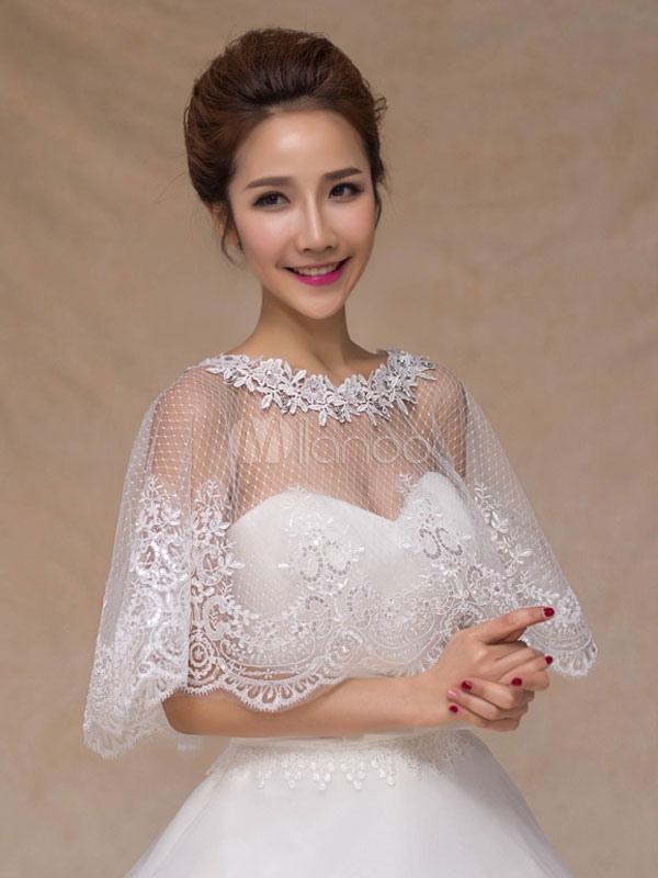 c0cc55f97c ... Wedding Poncho Cape Lace Ivory Shrug Shawl Bridal Cover Ups-No.3 ...