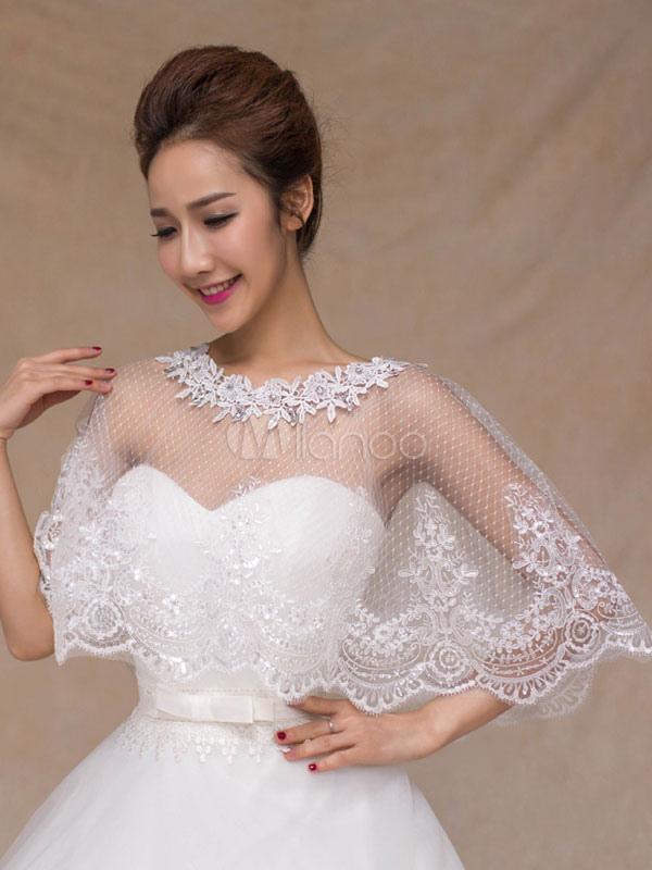 5793e99728 ... Wedding Poncho Cape Lace Ivory Shrug Shawl Bridal Cover Ups-No.2 ...