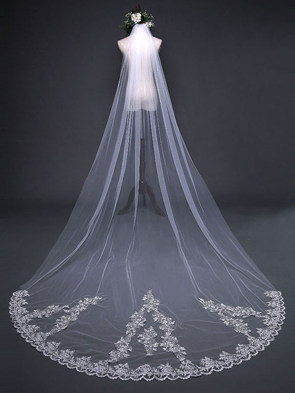 560c5a2017 Long Wedding Veil Waterfall Lace Applique Ecru White One Tier Tulle  Cathedral Bridal Veil-No ...