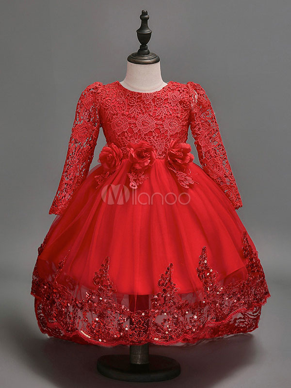 8f69c4eb870 Red Flower Girl Dresses Long Sleeve Ribbons A Line Asymmetrical Kids  Pageant Party Dress-No ...
