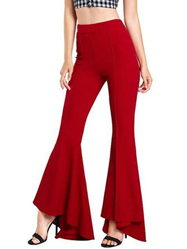 Pantalon à Cloche Rouge Pantalon évasé Extensible Taille Haute Milanoo Com