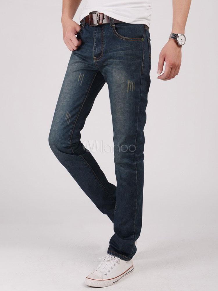 56d760f27c Pierna Recta Pantalones Vaqueros 2019 Arañazos Apenada Azul Mezclilla Jean  Para Hombre-No.1 ...
