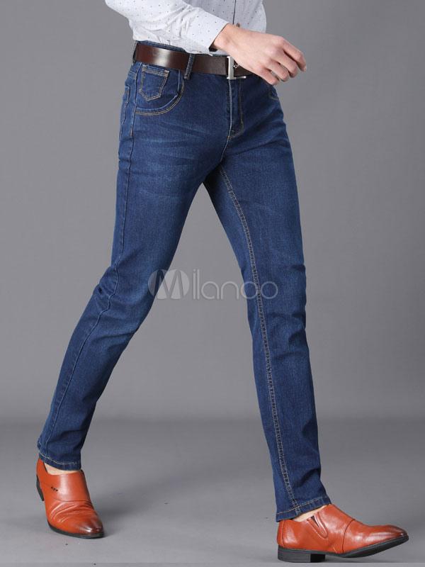 b4696523f جينز رجالي جينز أزرق بنطلون جينز بقصة مستقيمة - Milanoo.com