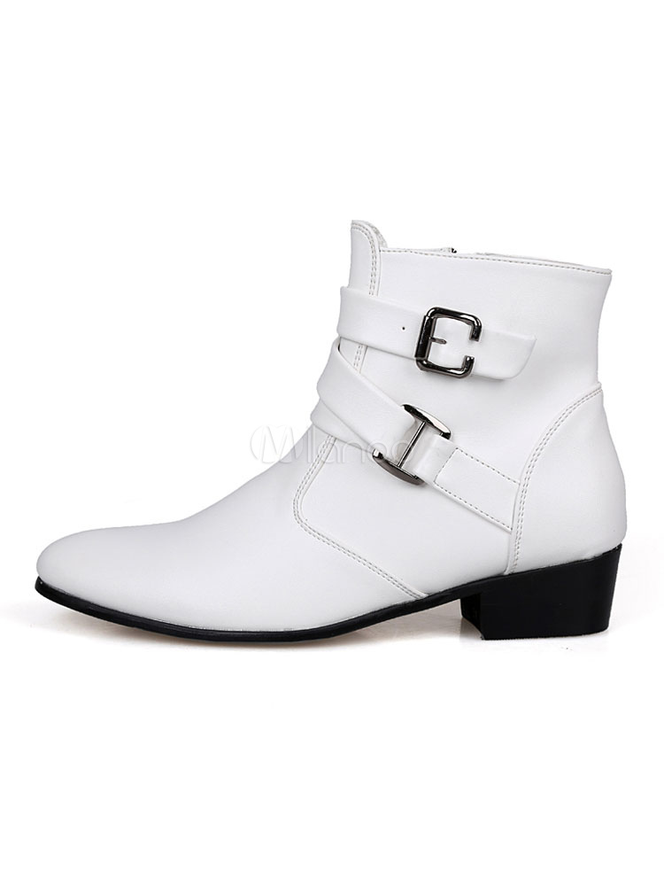 411e62025601bb ... White Motorcycle Boots Men Pointed Toe Buckle Detail Ankle Boots-No.3  ...
