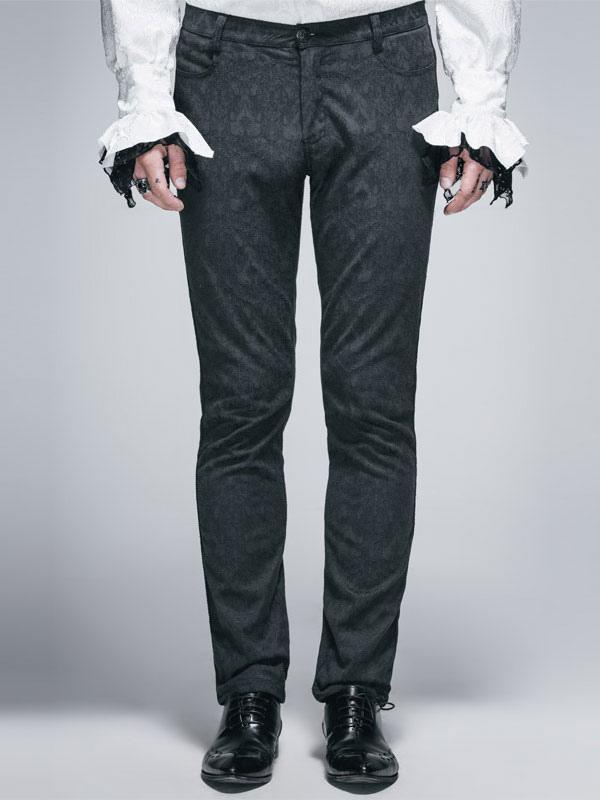 b48cecff85 Pantalones góticos Pantalones cortos de traje de Halloween de hombres negros  de Jacquard-No.