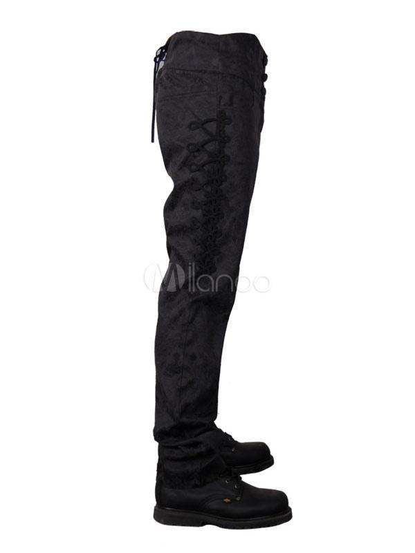 ae42167f94 ... Pantalones góticos Disfraz de Halloween Pantalones cortos de hombres  negros Jacquard-No.2 ...