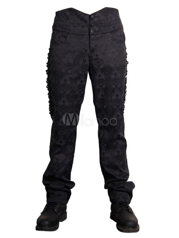 58463c0190 Pantalones góticos Disfraz de Halloween Pantalones cortos de hombres negros  Jacquard-No.1 ...
