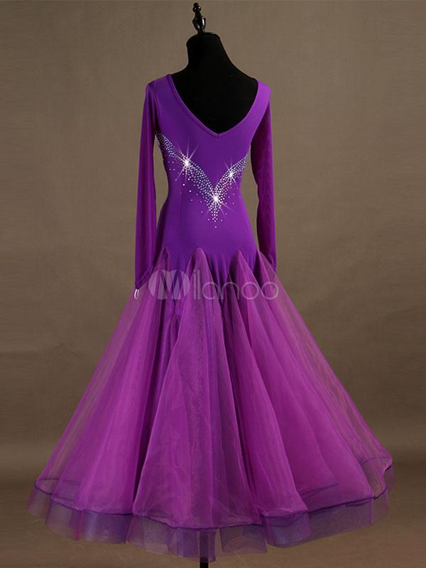 0c90bd7e24 ... Ballroom Dance Costume Purple Beading Long Sleeve Organza Training Dancing  Dresses-No.3 ...