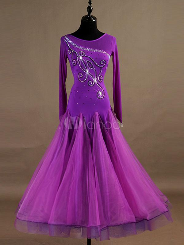 b2a1abaf2b Ballroom Dance Costume Purple Beading Long Sleeve Organza Training Dancing  Dresses-No.1 ...