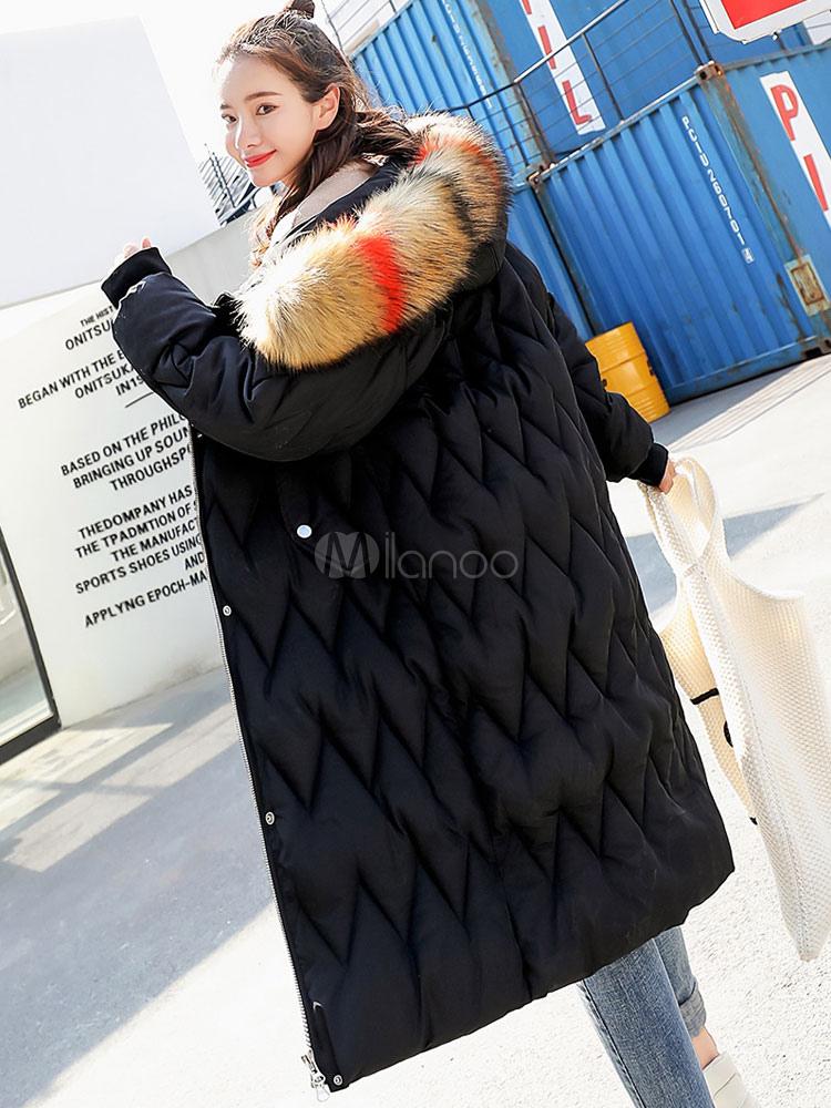 newest cd5b1 fc98c Cappotto a soffietto per donna con maniche lunghe a zig Patterm con  cappuccio in pelliccia sintetica