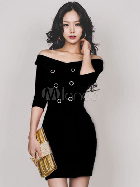 05c2e1f4c43a3 فستان أسود كم طويل فستان قصير من Bodycon - Milanoo.com