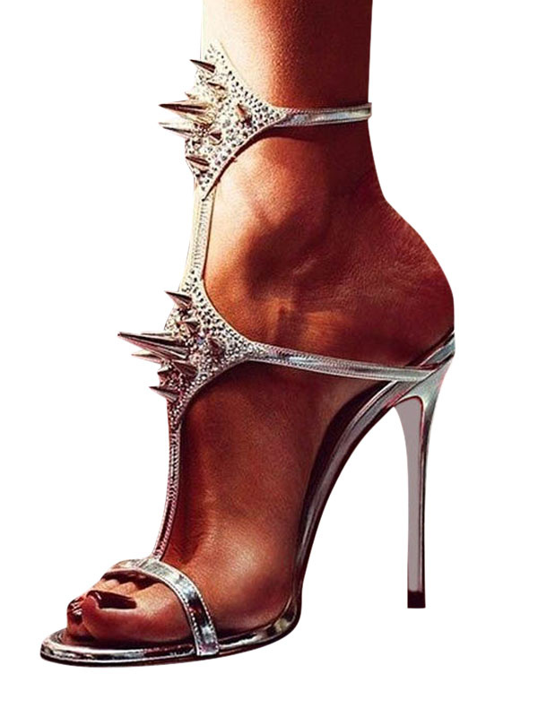 6c14d7f20eb High Heel Sandals Silver Open Toe Rivets Strappy Sexy Sandals For Women-No.1