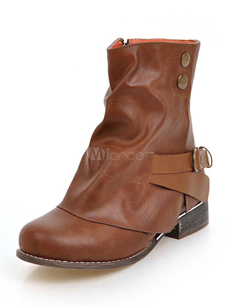 771121effdba6 Brown Ankle Boots Women Round Toe Buckle Detail Designed Short Booties-No.1  ...