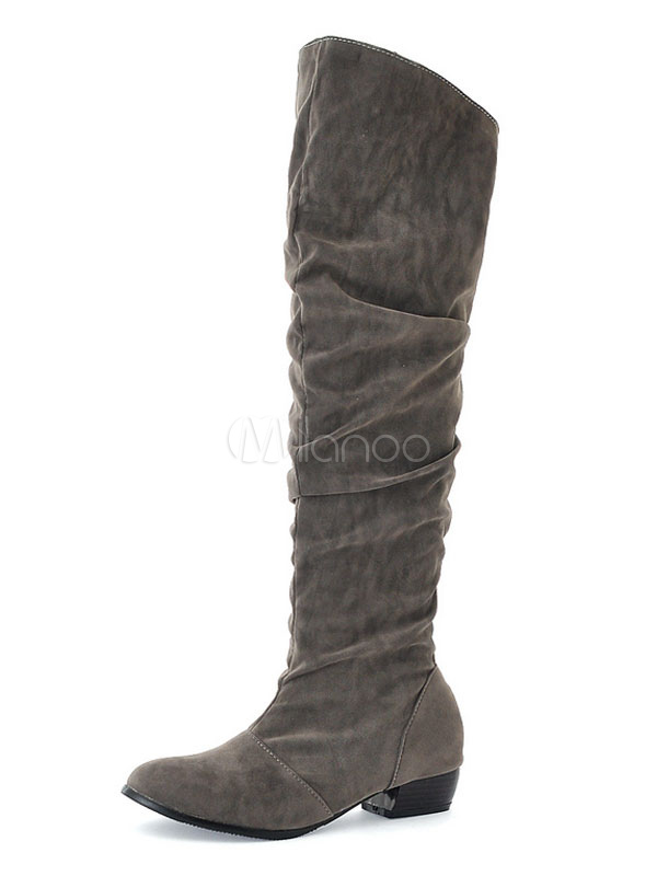 e7b3e034968 Grey Knee High Boots Suede Round Toe Ruched Wide Calf Boots Women Boots-No.