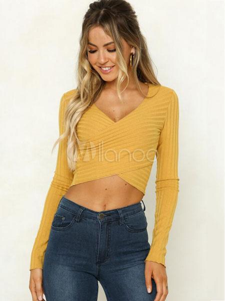 43831ac3ee5b1 Women Crop Top Yellow V Neck Long Sleeve Sexy Wrap Top - Milanoo.com