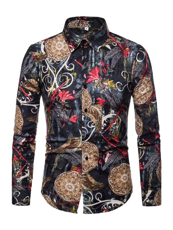 Camisa Casual Hombre Estampado étnico Slim Fit Camisa de manga larga de algodón