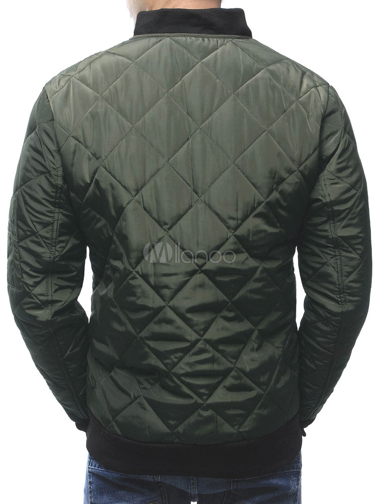 Men Padded Coat Diamond Pattern Bomber Jacket Stand Collar Long Sleeve Quilted Jacket