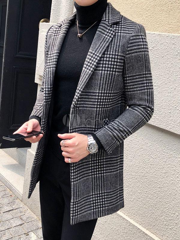 Notch Zwei Erbsenmantel Fit Lässig Woll Winter Herren Slim Grau Mantel Kariert Mantel Anstecker Kragen 2019 zSGqpUVM
