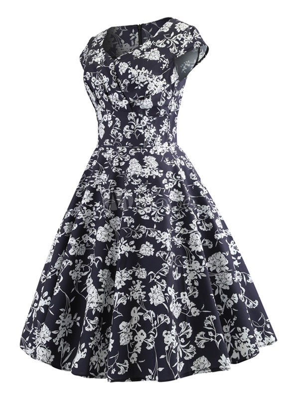 Vintage Kleider Mit Print Rockabilly Kleid Schwarz Polyester Und Kurzen Armeln 1950er Jahre Und Herz Ausschnitt Petticoat Kleid Milanoo Com
