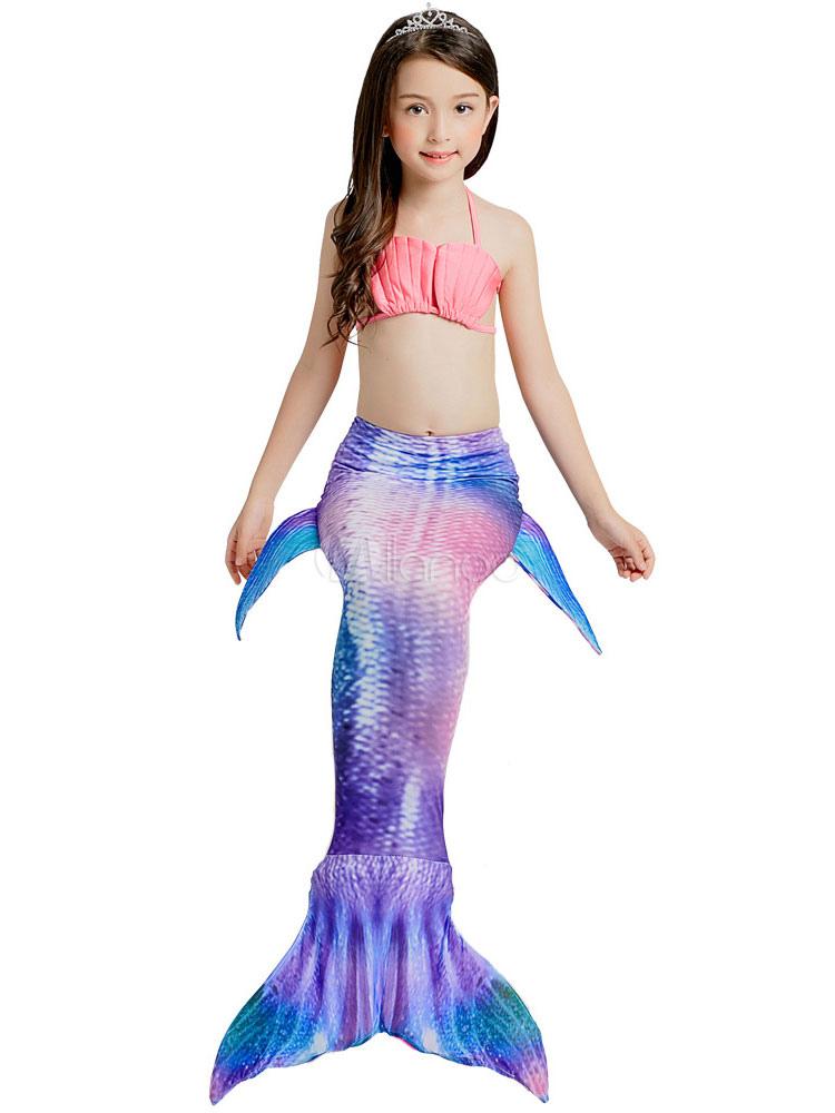 d07063242 Bikini de playa de sirena con traje de baño para niñas, 3 piezas-No ...