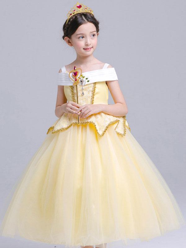 393f71b5c08 ... Costume Princesse Aurore Halloween Enfants Cosplay Robe La Belle au bois  dormant Disney Rose Petites robes ...