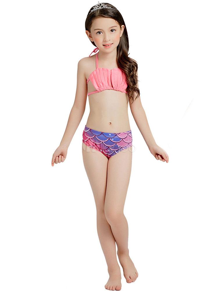 db597bc6d08c Fishtail Swimsuits Girls Mermaid Beach Bikini Set 3 Piece