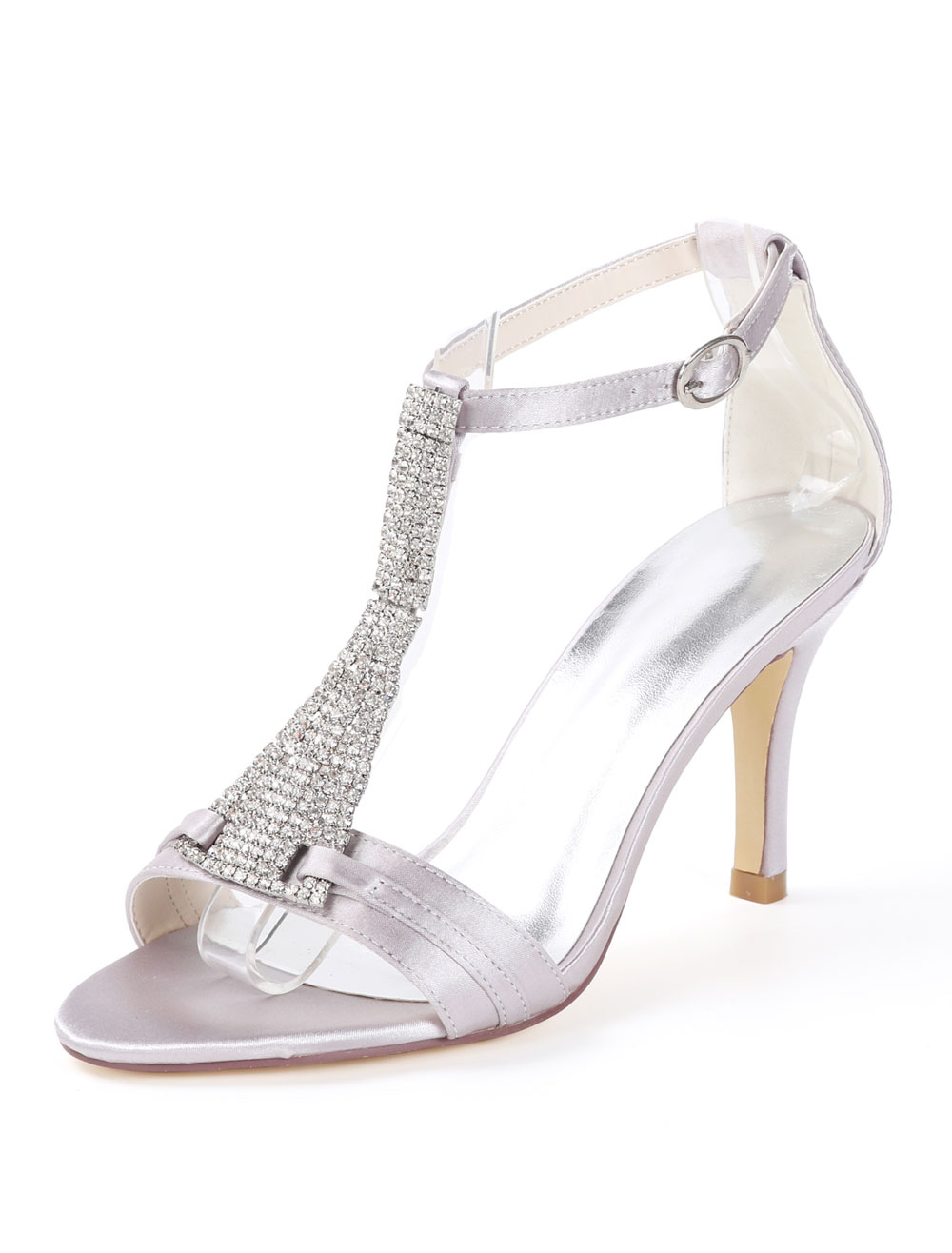 bc86ef158 الساتان حذاء الزفاف الأبيض المفتوحة تو أحجار الراين T نوع خمر أحذية ...