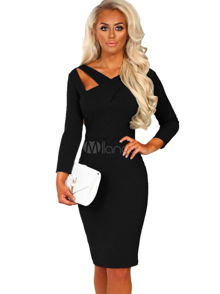 buy popular bb914 6d223 Vestito aderente da donna 2019 Vestito aderente nero Vestito maniche lunghe  scollo a V tagliato Out che modella il vestito longuette