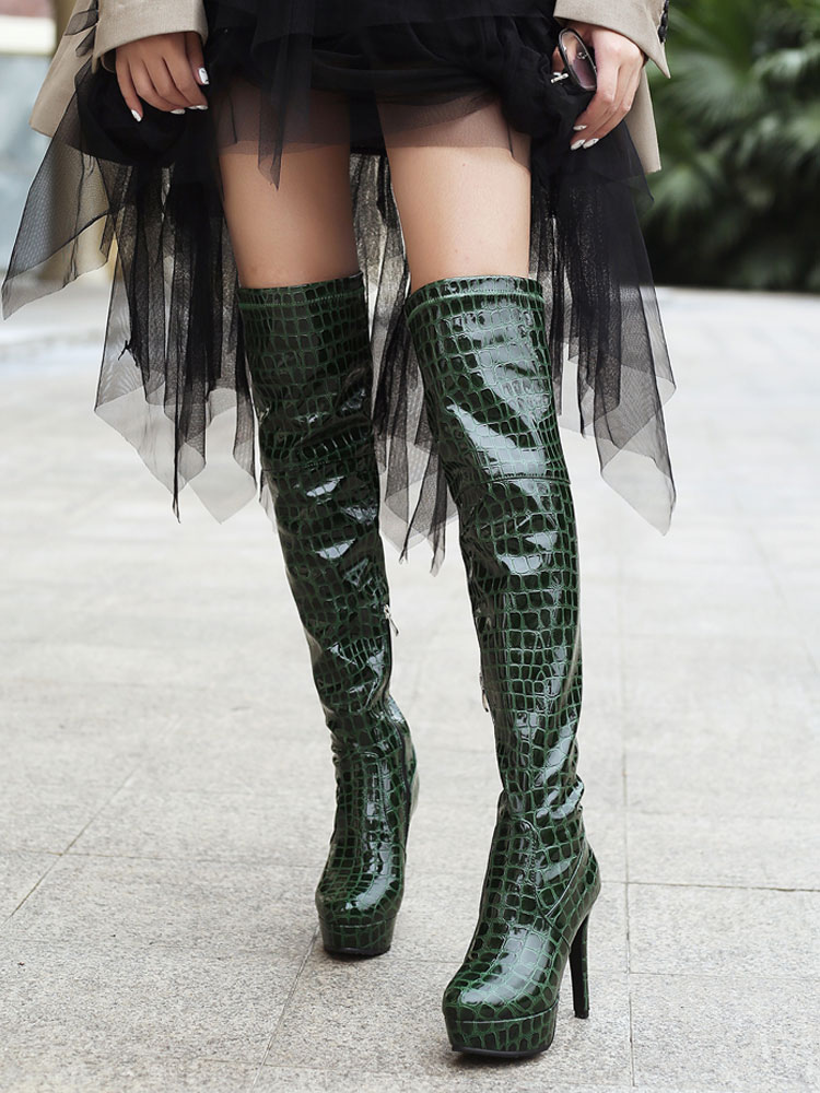fc911275fe50 Black Over The Knee Boots Women Platform Stone Pattern High Heel Thigh High  Boots-No ...