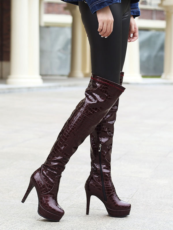 fe7b5659b01b ... Black Over The Knee Boots Women Platform Stone Pattern High Heel Thigh  High Boots-No