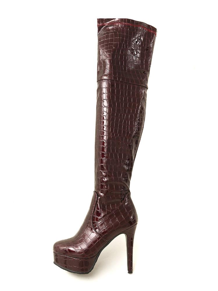 ffcd42d5633d ... Black Over The Knee Boots Women Platform Stone Pattern High Heel Thigh  High Boots-No ...